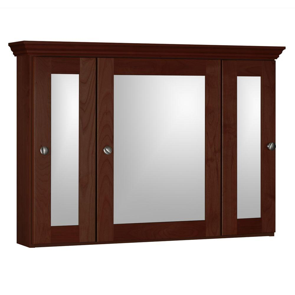 Simplicity by Strasser Shaker 36 in. W x 27 in. H x 6-1/2 in. D Framed Tri-View Surface-Mount Bathroom Medicine Cabinet in Dark Alder