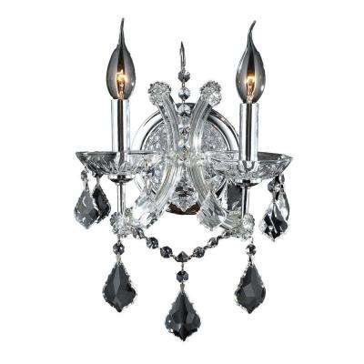 Lyre 2-Light Chrome Sconce with Clear Crystal