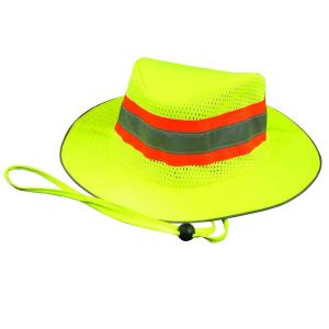 s230 poly woven oxford boonie hat with coating in hiviz lime
