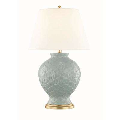Demi 25.25 in. High Surf Table Lamp with Off White Linen Shade