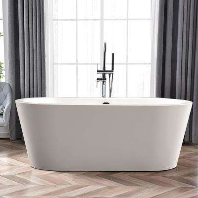 Lorient 59 in. Acrylic Flatbottom Freestanding Bathtub in White