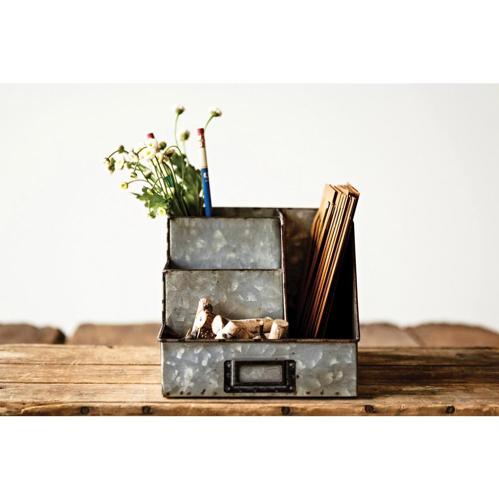 3R Studios 9-1/2 in. L Metal Desk Organizer, Gray Put all of your office supplies in this metal desk organizer. The silver metal finish adds a rustic feel to any office space. This organizer can complement many different home furnishings. Color: Gray.