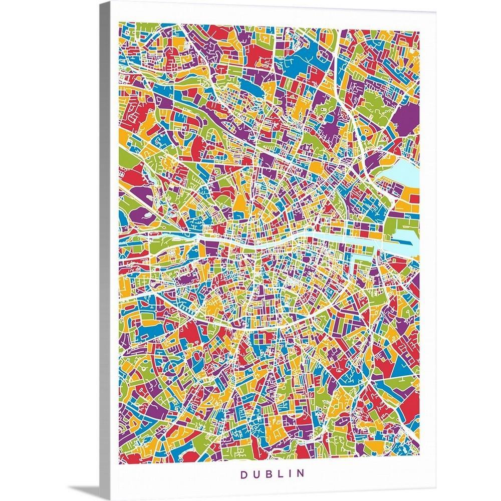 Dublin Ireland Map Of City.30 In X 40 In Dublin Ireland City Map By Michael Tompsett Canvas Wall Art