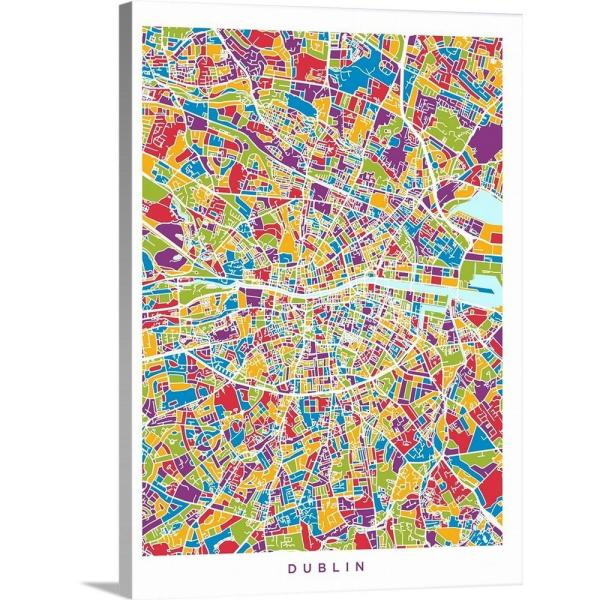 City Map Of Dublin Ireland.30 In X 40 In Dublin Ireland City Map By Michael Tompsett Canvas Wall Art