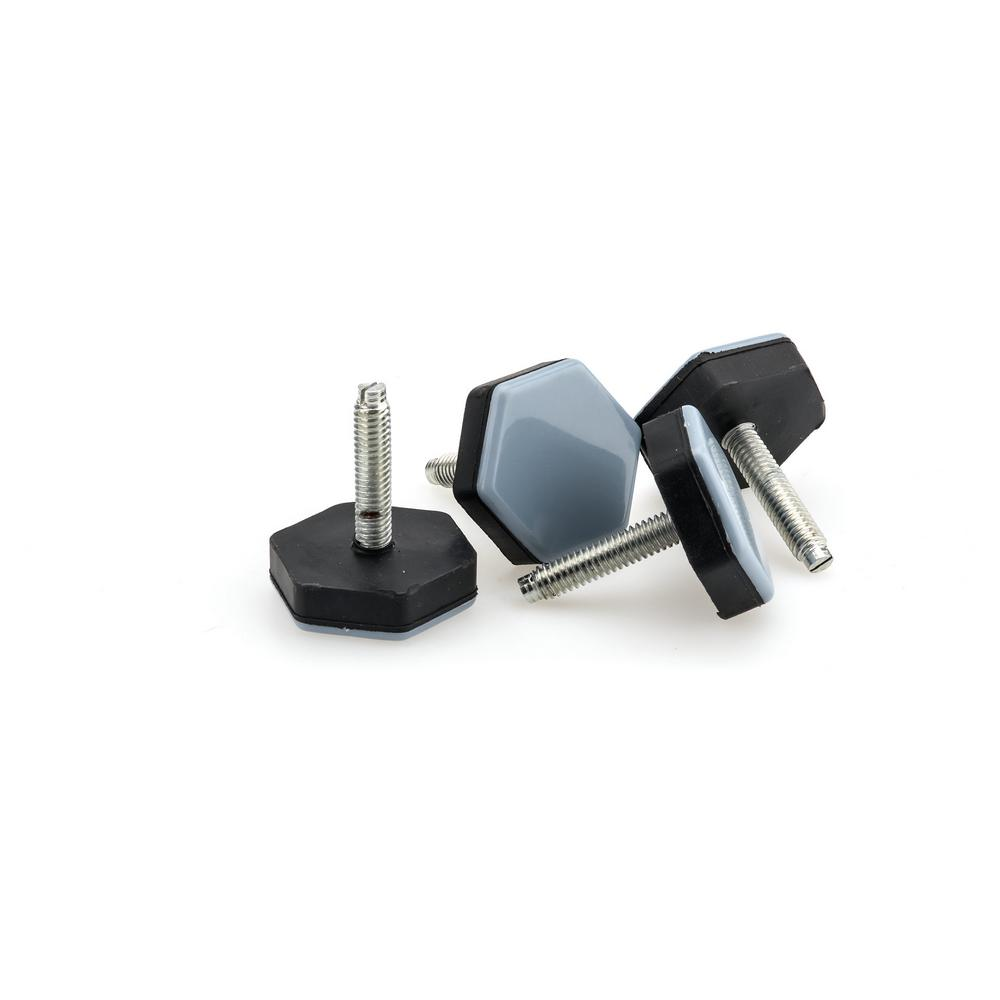 1-1/2 in. Gray and Black Base Screw-on Glides (4-Pack)