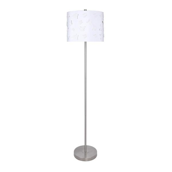 60 in. Brushed Nickel Floor Lamp with Slim-Line Design and White Butterfly Shade