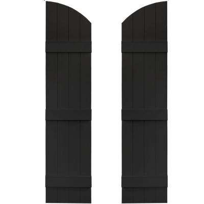 14 in. x 57 in. Board-N-Batten Shutters Pair, 4 Boards Joined with Arch Top #002 Black