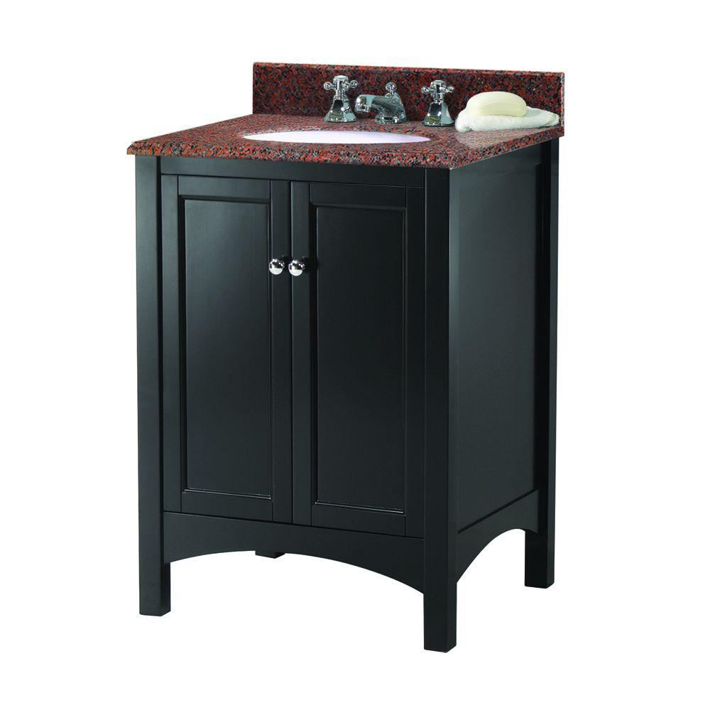 Home Decorators Collection Haven 25 in. W x 22 in. D Vanity in Espresso with Granite Vanity Top in Terra Cotta with White Sink was $499.0 now $349.3 (30.0% off)