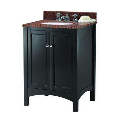 Haven 25 in. W x 22 in. D Vanity in Espresso with Granite Vanity Top in Terra Cotta with White Sink