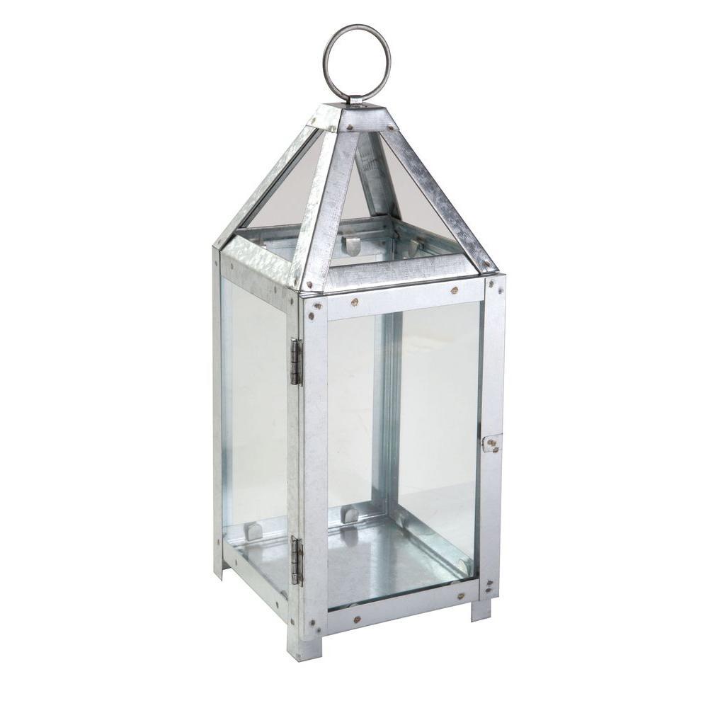 19.6 in. Galvanized Metal Lantern