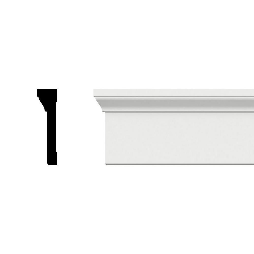 Ekena Millwork CAS05X01X96BBSWPV 4 1//2 H x 1 1//4 P x 96 L Back Band PVC Casing Moulding Unfinished