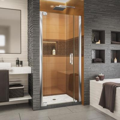 Elegance-LS 34-1/2 in. to 36-1/2 in. W x 72 in. H Frameless Pivot Shower Door in Chrome