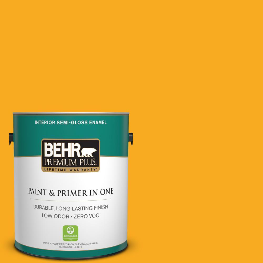 BEHR Premium Plus 1-gal. #P270-7 Sunny Side Up Semi-Gloss Enamel Interior Paint