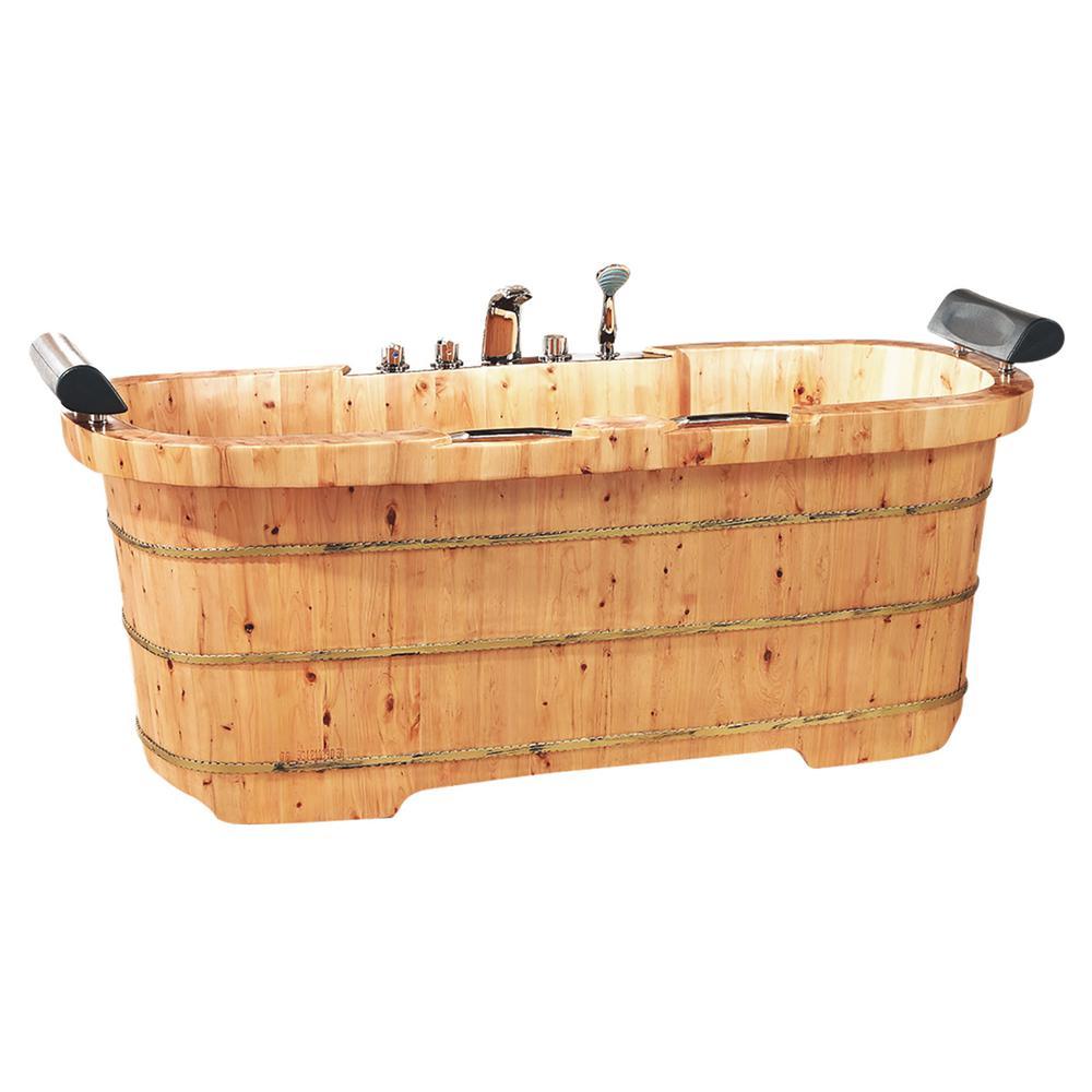 ALFI BRAND 65 in. Wood Flatbottom Bathtub in Natural Wood-AB1130 ...