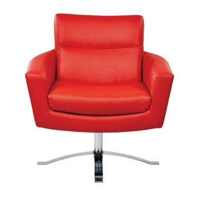 Nova Red Faux Leather Arm Chair