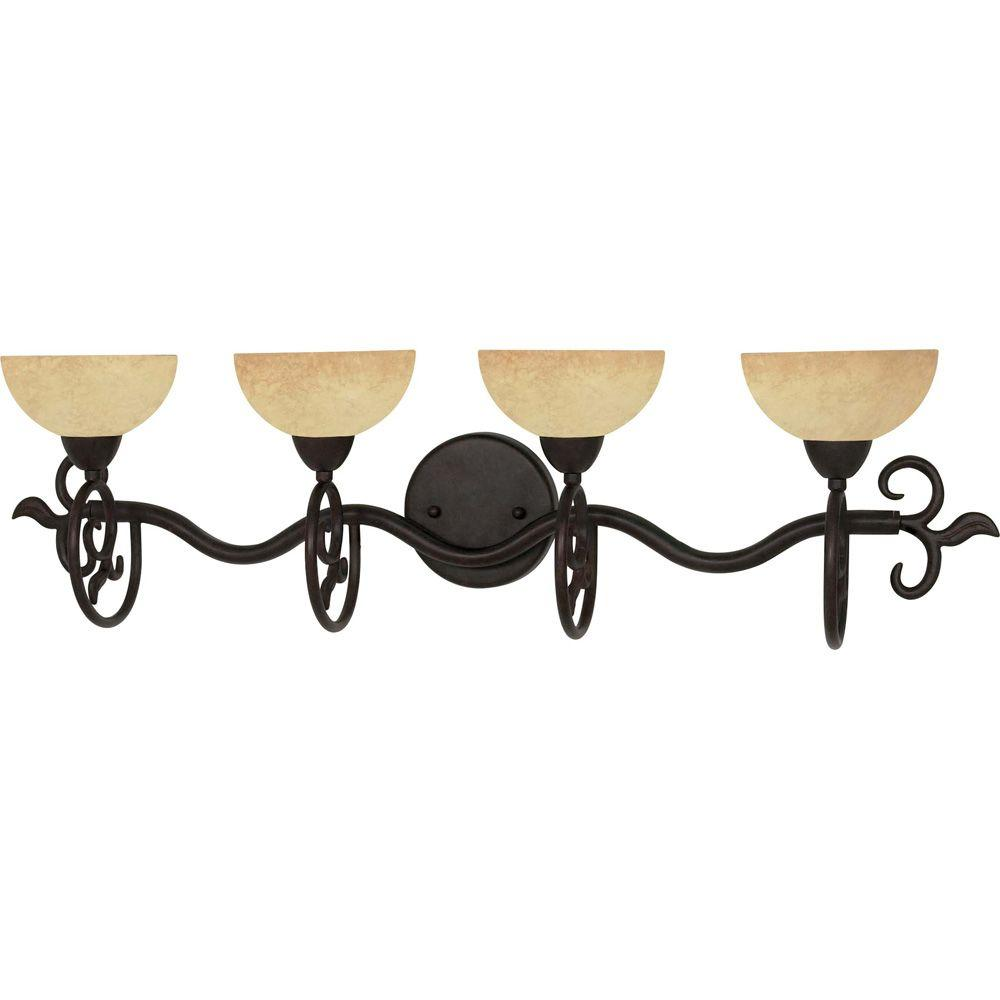 Eunike 4-Light Old Bronze Bath Vanity Light with Tuscan Suede Glass