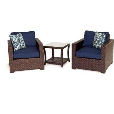 Metropolitan 3-Piece All-Weather Wicker Patio Chat Set with Navy Blue Cushions