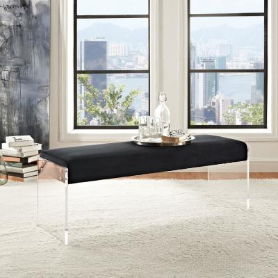 Roam Black Velvet Bench