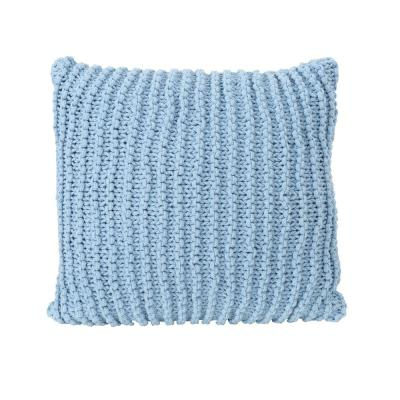 Farlie Light Blue Solid Cotton 17.25 in. x 6 in. Throw Pillow