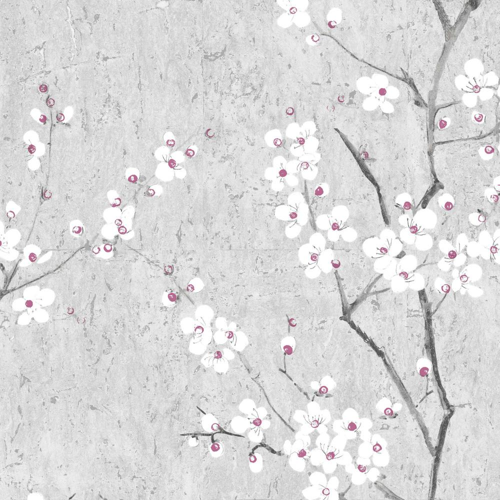 Graham Brown Kyoto Sakura Soft Gray White Pink Wallpaper