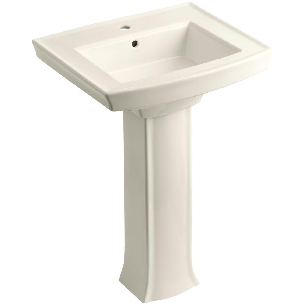 Archer Vitreous China Pedestal Bathroom Sink Combo in Biscuit with Overflow