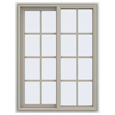 35.5 in. x 47.5 in. V-4500 Series Left-Hand Sliding Vinyl Window with Grids - Tan