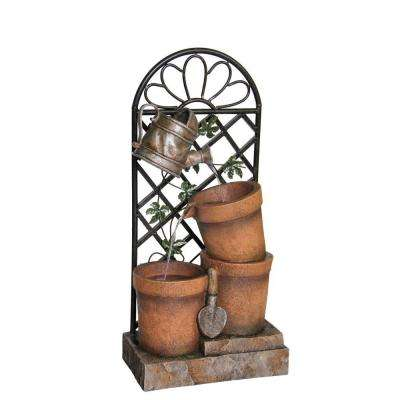 34 in. 3-Flower Pots and Garden Tools Fountain