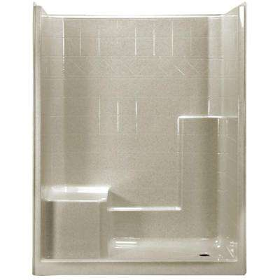 60 in. x 33 in. x 77 in. 1-Piece Low Threshold Shower Stall in Beach with Left Hand Side Molded Seat, Right Drain