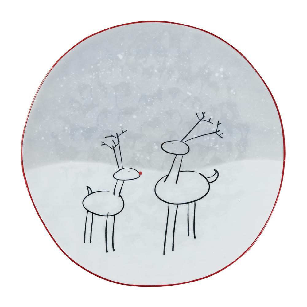 Reindeer Games White Plate (Set of 4)