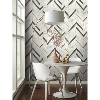 Marble Chevron Paper Strippable Wallpaper (Covers 56.9 sq. ft.)