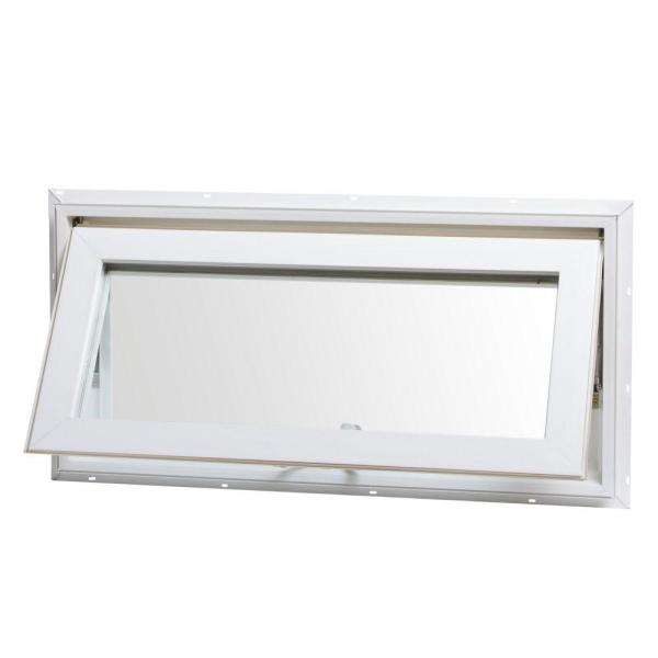 32 in. x 16 in. Awning Vinyl Window with Screen - White