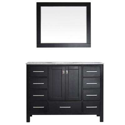 Gela 48 in. W x 22 in. D x 35 in. H Vanity in Espresso with Marble Vanity Top in White with Basin and Mirror