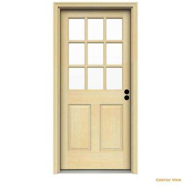 30 in. x 80 in. 9 Lite Unfinished Wood Prehung Left-Hand Inswing Front Door w/Rot Resistant Jamb and Brickmould