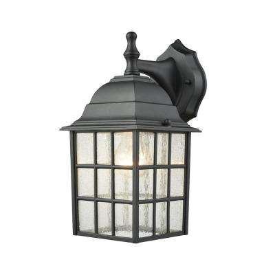 Holton 1-Light Satin Black Outdoor Wall Mount Lantern