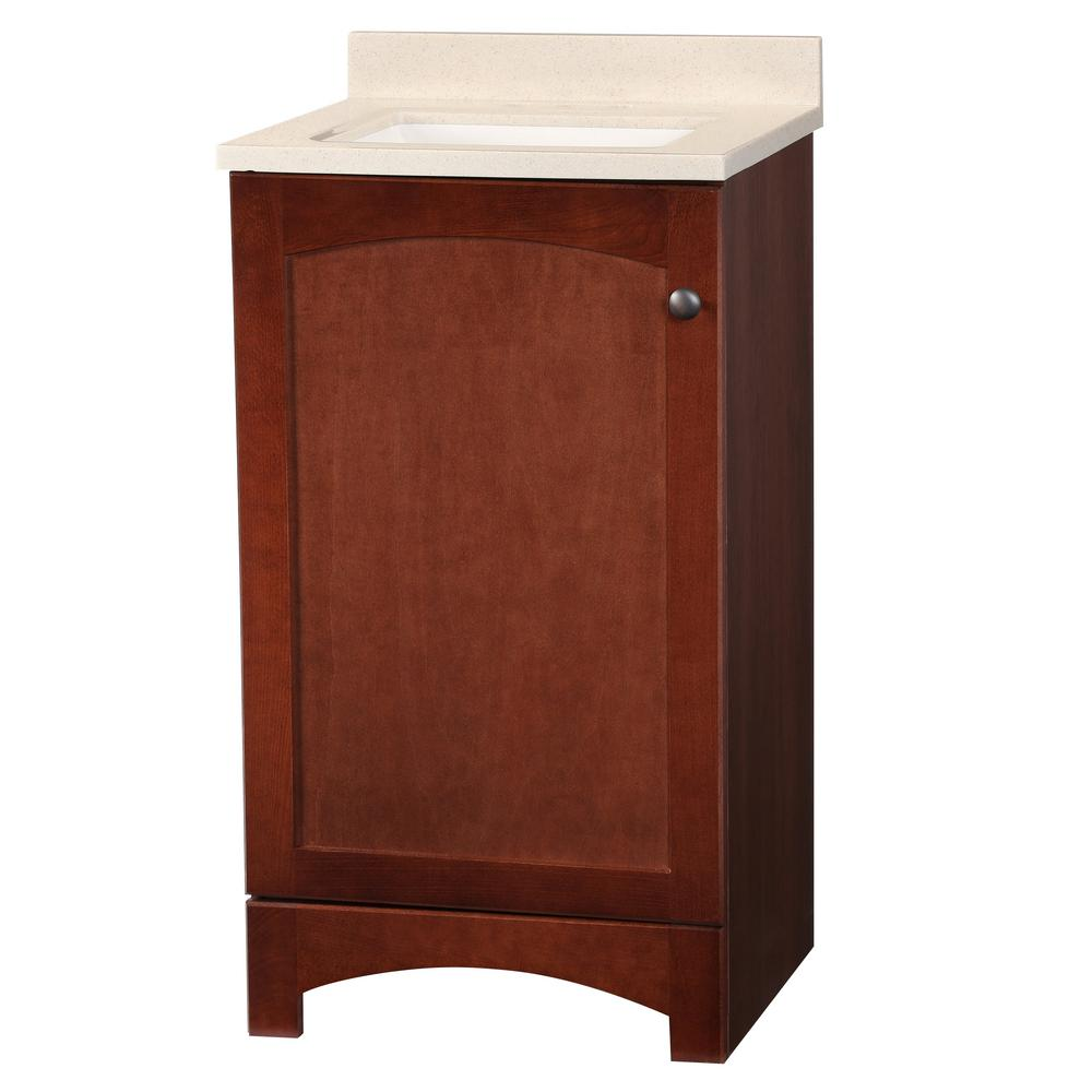GlacierBay Glacier Bay Melborn 18.5 in. W Bath Vanity in Chestnut with Solid Surface Technology Vanity Top in Wheat with White Sink