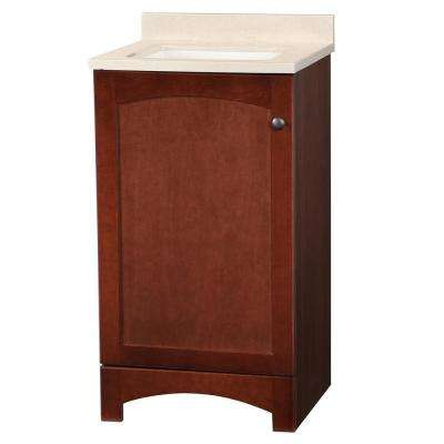 Melborn 18.5 in. W Bath Vanity in Chestnut with Solid Surface Technology Vanity Top in Wheat with White Basin