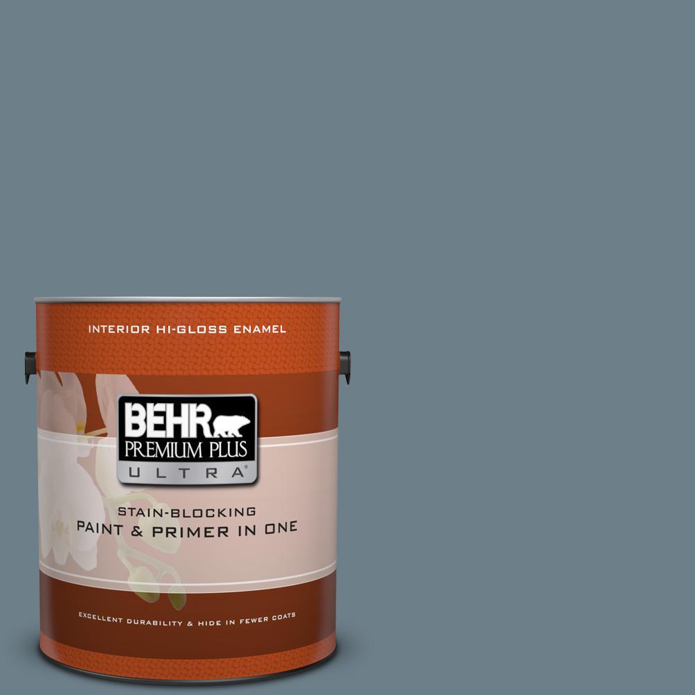 BEHR Premium Plus Ultra 1 gal. #PPU13-4 Atlantic Shoreline Hi-Gloss Enamel Interior Paint