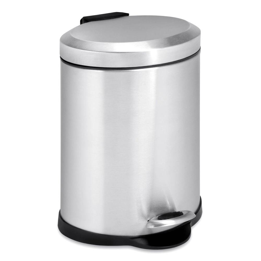 1523a6e7385 Honey-Can-Do 1 Gal. Stainless Steel Oval Step-On Touchless Trash Can ...