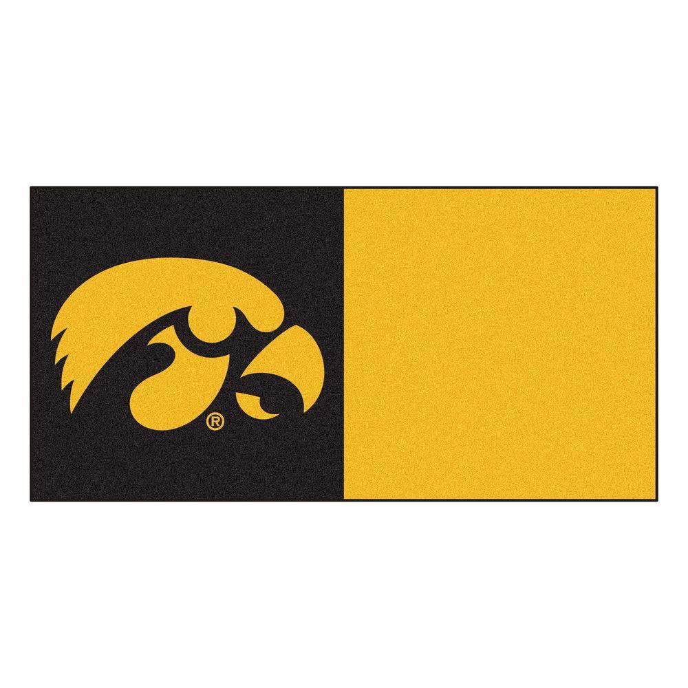 FANMATS NCAA - University of Iowa Black and Gold Nylon 18 in. x 18 in. Carpet Tile (20 Tiles/Case)