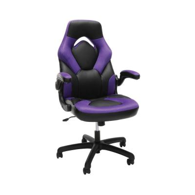 Essentials Collection Racing Style Bonded Leather Gaming Chair, in Purple (ESS-3085-PUR)