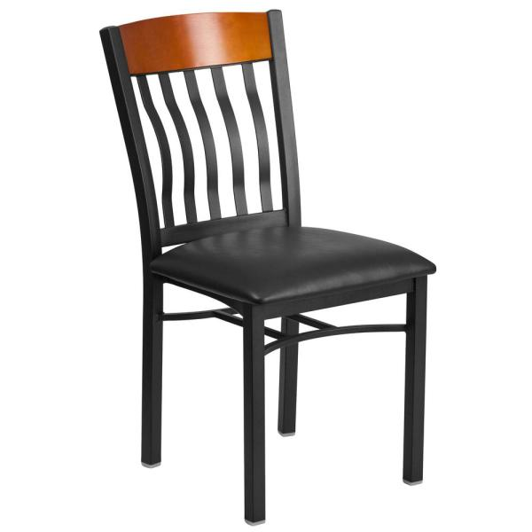Flash Furniture Eclipse Series Black Vertical Back Metal and Cherry Wood