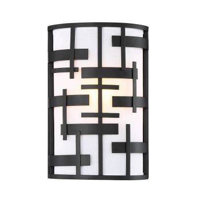 1-Light Textured Black Sconce with White Fabric Shade
