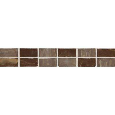 Fashion Accents Noce Swirl 2 in. x 12 in. Ceramic Decorative Accent Wall Tile