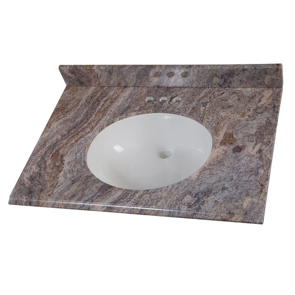 31 in. Stone Effects Vanity Top in Cold Fusion with White