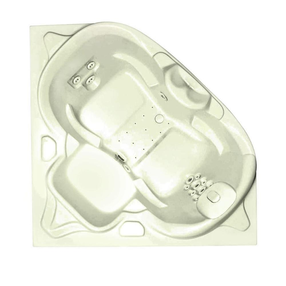 Aquatic Infinity 8 5 ft. Center Drain Bathtub with Heater in Biscuit-DISCONTINUED