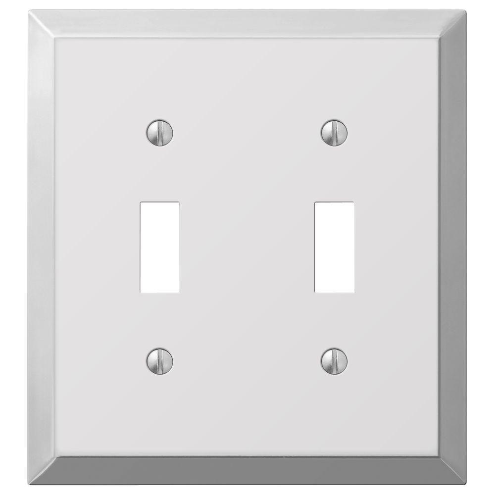 hampton bay metallic 2 toggle wall plate polished chrome steel
