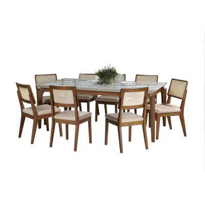 Payson 82.67 in. and Pell 2.0 9-Piece Off-White and Dark Beige Dining Set