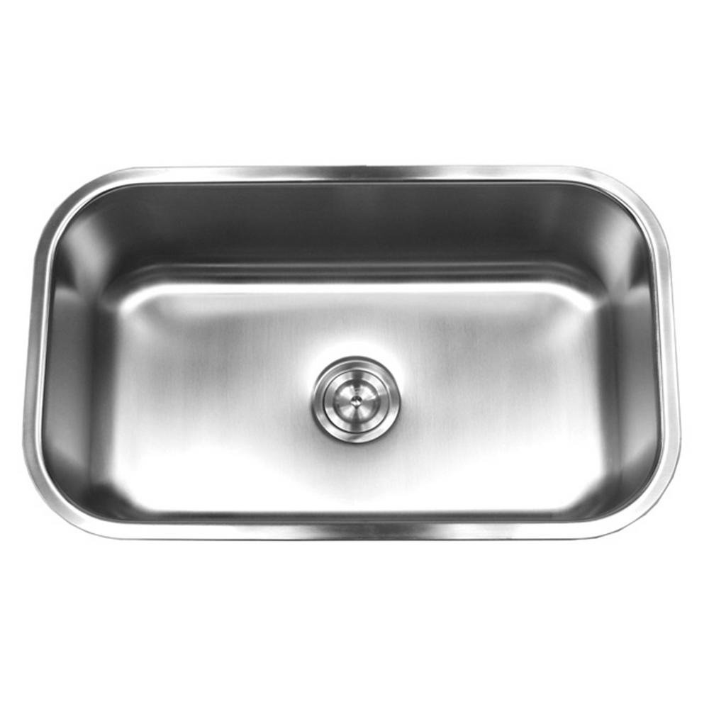 Kingsman Hardware Undermount 18-Gauge Stainless Steel 30 in. x 18-1/8 in. x  10 in. Deep Single Bowl Kitchen Sink with Brushed Finish
