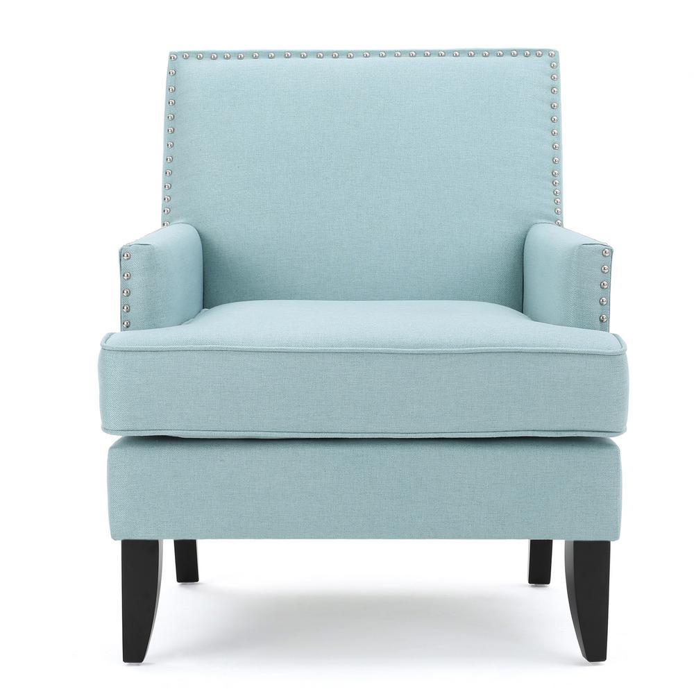 Tilla Studded Light Blue Fabric Club Chair