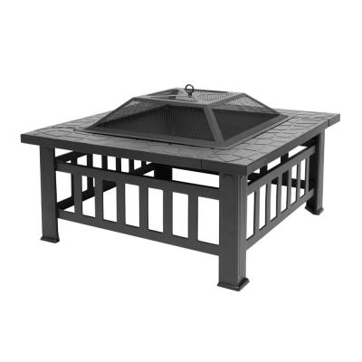 32 in. x 17 in. Square Metal Wood Burning Fire Pit Table in Black